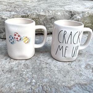 Rae Dunn CRACK ME UP and Eggs Trio Mug Set
